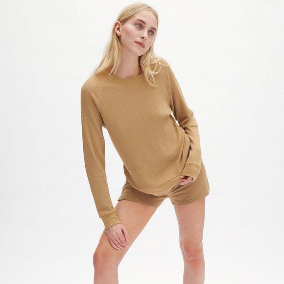 Aritzia TNA Andrews Thermal Waffle Knit T-Shirt